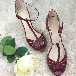 Zara maroon patent t-strap heels EUC EU size 40